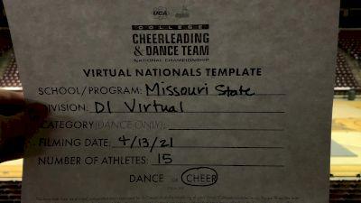 Missouri State UniversitySpringfield [Division I Virtual Semi Finals] 2021 UCA & UDA College Cheerleading & Dance Team National Championship