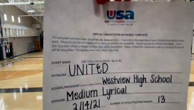 Westview High School [Lyrical Varsity - Medium] 2021USA Virtual Dance Winter Series #2