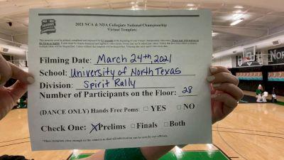 University of North Texas [Virtual Spirit Rally Open Prelims] 2021 NCA & NDA Collegiate Cheer & Dance Championship